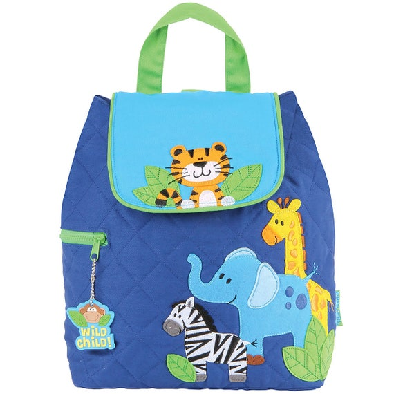 BOYS ZOO, Stephen Joseph Quilted Backpack, Personalized Diaper Bag, Toddler Backpack, Kids Backpack. FREE Personalization.
