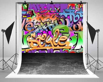 Graffiti Brick Wall Photography Backdrops Newborn Baby Photo Backgrounds for Children Birthday Studio Props