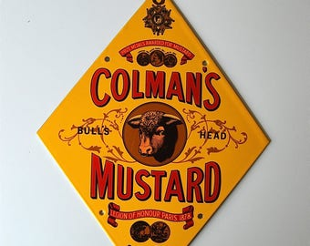 Fantastic quality vintage enamel advertising sign Colman's Mustard wall decor kitchen plaque