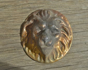 An original antique Regency lions head furniture handle English brass circa.1820 LX11