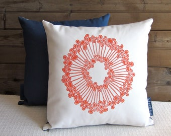 18x18 Throw Pillow, Orange, Urchin, Hand Blocked Fabric, White, Blue, Decorative Pillow, Organic Cotton Pillow, Washable Pillow Cover, Gift