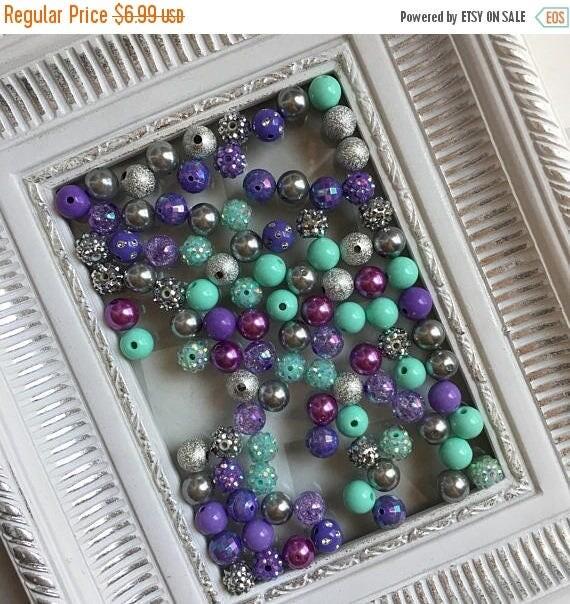 "SALE 12mm  ""Wintergreen, Lavender, & Silver/Gray ""  {100 count}  Chunky Bubble Gum Bead Wholesale Bulk Bead Lot for Necklaces or Bracelets"