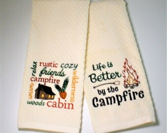 "Cabin Decor, Cabin Towel, Dish Towel, Nature Lover Gift, Hostess Gift, Birthday Gift, Rustic Decor, Camp Decor  ""Cabin"""