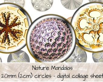 Nature Mandalas, Geometric Patterns, Green Orange Yellow, 20mm circles, digital collage sheet, instant download, digital art