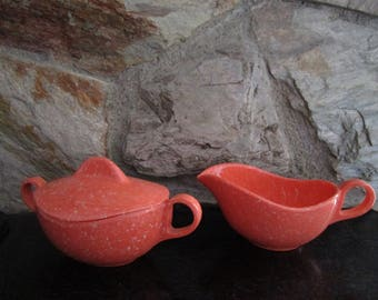 Orange Splatter Melmac Creamer and Sugar Bowl with Lid