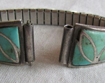 Ladies Sterling Silver and Turquoise Inlay Watch Band