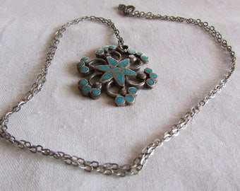 Vintage Southwest Sterling Silver and Turquoise Inlay Necklace