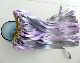 Bâtons rubans,rubans gris,ruban lilas,mariage, cérémonie de mariage,mariage decoration,15mm,cadeau invités,sortie des mariés,ruban déco
