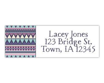 Return address label, tribal print, personalized return label, custom address label, envelope label, mailing address label