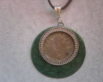 cabochon necklace, unique Green