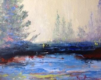 Tiny Art, Sunny Mini Painting, Landscape Painting, Mini Masterpiece, Small Art
