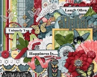 On Sale 50% Butterflies and BlueJeans Digital Scrapbook Kit - Digital Scrapbooking