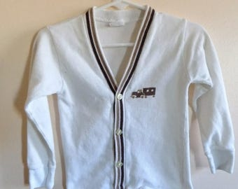 60s Cardigan, Penney's, Boys Shirt, Long Sleeves, White, Brown, Trailer, Car, 1960s, Cardigan, Size 4, Boys Vintage Clothing, Preppy