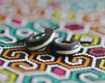 Small Horn & Bone Strips Hoops Post earrings
