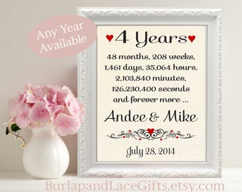4, 4th Anniversary Gift, Years Months Weeks Days Hours Minutes, Gift to Wife, Gift to Husband, Linen anniversary, linen, cotton (ana207-4)
