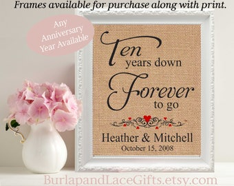 Gift for Wife 10th Anniversary Husband Gift to Wife Gift for Husband Framed Print Anniversary Gift 10 years Cotton Linen Burlap (208)