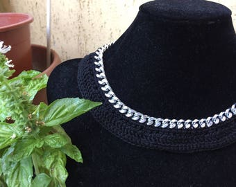 Black cotton necklace on silver chain