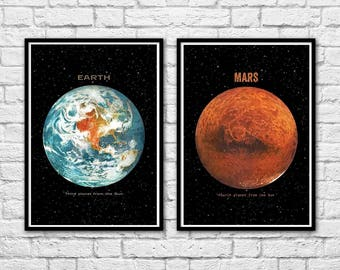 2 Art-Posters 30 x 40 cm - Earth and Mars Planets by Terry Fan