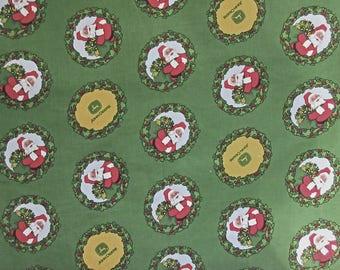 Christmas Fabric - John Deere 41380  Green Yellow Red Santa - 100% Cotton - Price per Yard
