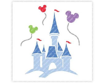 Disney, Castle, Cinderella, Balloons, Mickey, Minnie, Mouse, Head, Ears, Icon, Digital, Download, TShirt, Cut File, SVG, Iron on, Transfer