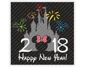 Disney, Happy New Year, 2018, Castle, Fireworks, Minnie, Head, Mouse, Ears, Icon, Digital, Download, TShirt, Cut File, SVG, Iron on,Transfer