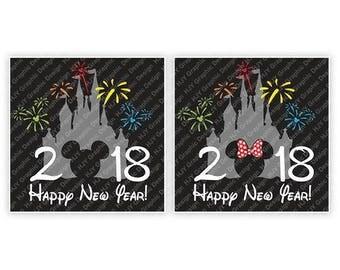Disney, Happy New Year, 2018, Castle, Fireworks, Mickey, Mouse, Head, Ears, Digital, Download, TShirt, Cut File, SVG, Iron on, Transfer