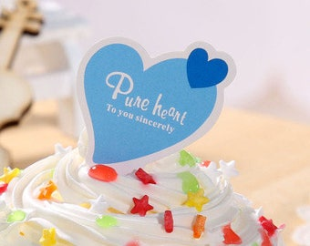 25pcs Pure heart Cupcake Toppers