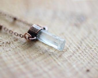 Raw Aquamarine Pendant Copper Pendant Electroformed Pendant Raw Stone Pendant Electroformed Aquamarine