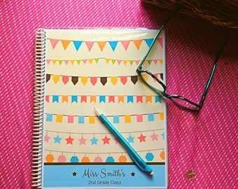 HEAD of the CLASS: Premium Handmade Personalized Teacher Planner/Agenda/Organizer, Gradebook, Fully Custom, Spiral or Disc Binding