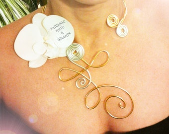 "Necklace bride ""Polynesia"" Orchid and aluminum wire to customize"