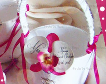 Bridesmaid personalize artificial Orchid and rhinestones heart basket