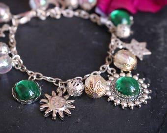 Bracelet Sun, Moon and stars with green beads
