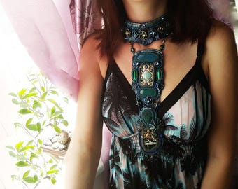 Ethnic necklace her Ethnic jewelry women Beadwork necklace her Embroidered necklace Blue ethnic OOAK green long gem tribal art necklace
