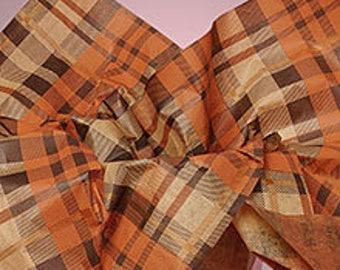 Rust, Tan, Brown Plaid Fall Tissue Paper # 269 / Gift Paper .. Man