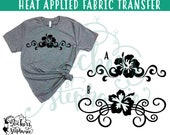 IRON On v21-Border Hibiscus Flowers Border Flourish Heat Applied T-Shirt Transfer *Specify Color Choice in Notes BLACK or WHITE Vinyl