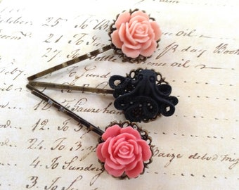 Vintage Roses And Octo Hair Clips