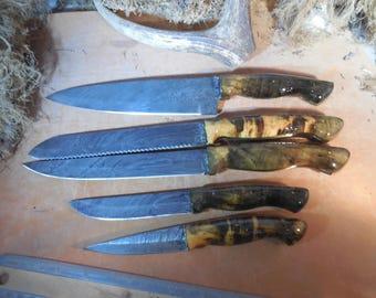 5 pc. Damascus Buckeye Burl wood kitchen knife set