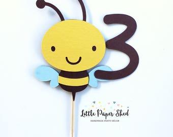 Handmade  Age Cake Topper - Bee Theme x1