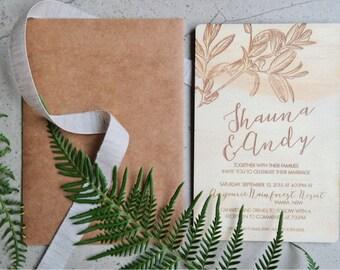 Wedding invitation. Laser engraved leaf wood wedding invitation. 10 pack