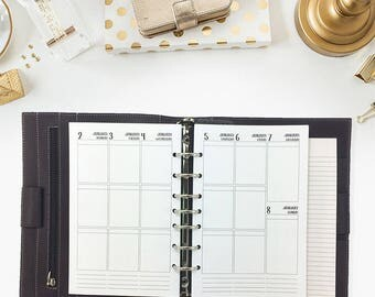 Half size 2018 Weekly Vertical printed planner calendar - Wo2P - week on two pages - week layout - Monday through Sunday - vertical layout
