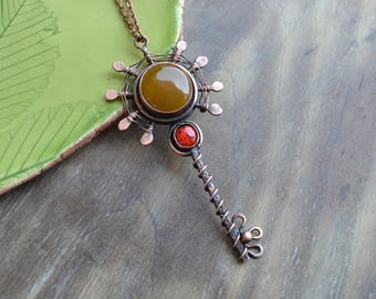 Sun key, copper handmade pendant, yellow and red, ladybug