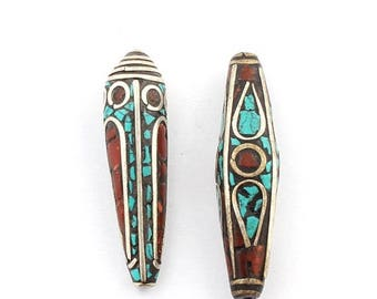 June Clearance Sale 2 Pcs Tibetan Cone Shape Brass Beads With Turquoise Coral inlay Bead 43mmx11mm-41mmx11 PFA172