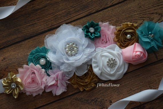 Sash,  pink white gold teal  Sash , flower Belt, maternity sash, maternity sash belt, flower girl sash belt, pink sash