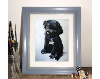 Labrador Puppy Painting Labrador Dog Art Dog PRINT Black Labrador Puppy - Art Print - from original painting by J Coates