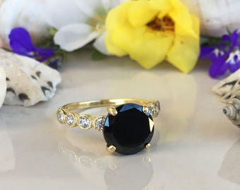 20% off-SALE!! Black Onyx Ring - December Ring - Engagement Ring - Gold Ring - Round Ring - Gemstone Band - Statement Ring - Prong Ring