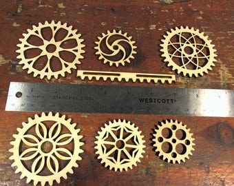Lot of Steampunk wood gears and rack laser cut unique gears decoration