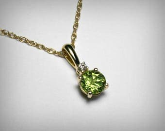 Genuine Peridot Necklace, 14K, Genuine Diamond, Natural Peridot Pendant, 14K Yellow Gold, August Birthstone Birthday, Peridot Green Necklace