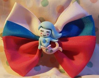 Mermaids hair bow clip. Hair bows. Mythical creatures. Mermaid, siren.  Blue and pink