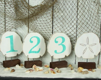 Beach Wedding Decor Sand Dollar Wooden Table Numbers Beach Theme Wedding  Table Numbers Destination Wedding Nautical