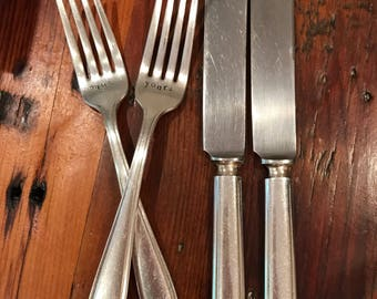 Hand Stamped Mine and Yours Forks And Knives